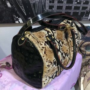 Patent leather and hide Arcadia bag.